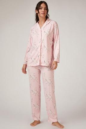 Happiness İst. Kadın Pembe Çiçekli Pijama Takımı GL00031 1