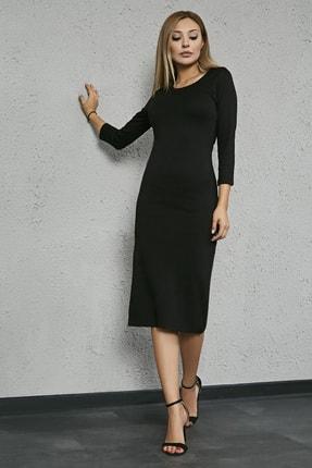 Sateen Kadın Siyah Uzun Kol Midi Kalem Elbise 1