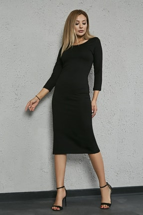 Sateen Kadın Siyah Uzun Kol Midi Kalem Elbise 2