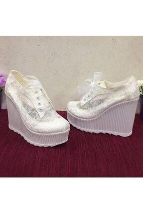 JENA Kadın Beyaz Dolgu Topuk Gelinlik Ayakkabı 0