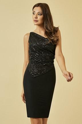 Sateen Kadın Siyah Payet Detaylı Askılı Elbise 1