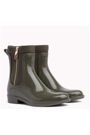 Tommy Hilfiger Kadın Yeşil Material Mix Yağmur Botu Fw0fw03562 0