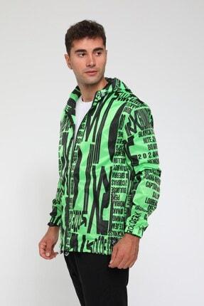 Rocqerx Erkek Yeşil Dijital Baskılı Yağmurluk Rüzgarlık 2