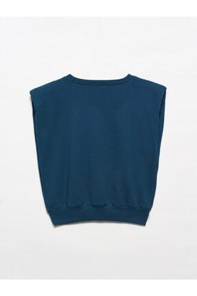 Dilvin 3588 Crop Vatkalı Sweatshirt-petrol 1