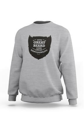 Ketuna Unisex Gri Great Beard Baskılı Sweatshirt 0