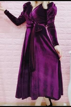 MACFLY Kuşaklı Midi Boy Kruvaze Yaka Kadife Elbise 0