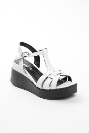 John May Kadın Beyaz Rugan Sandalet Po-012 20568 0