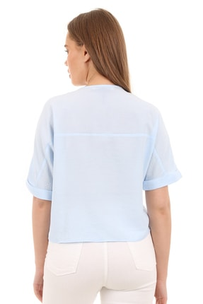 Bigdart Kadın Mavi Tahta Düğme Bağlamalı Bluz 3
