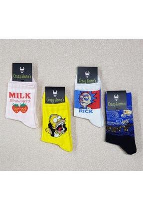 crazy Llama's Unisex Beyaz Çorap Set 4lü 0