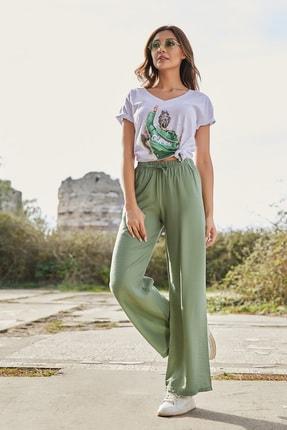 Sateen Kadın Çağla Yeşili Beli Lastikli Bol Paça Pantolon 1