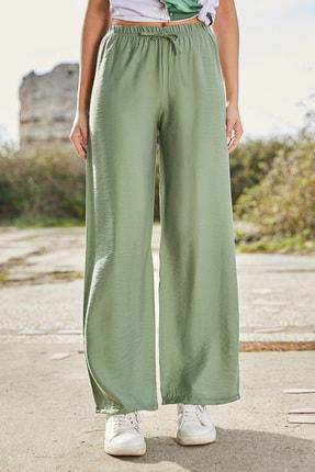 Sateen Kadın Çağla Yeşili Beli Lastikli Bol Paça Pantolon 2
