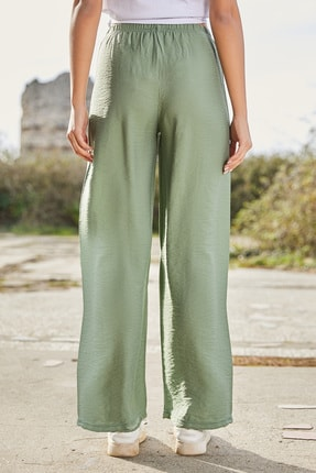 Sateen Kadın Çağla Yeşili Beli Lastikli Bol Paça Pantolon 3