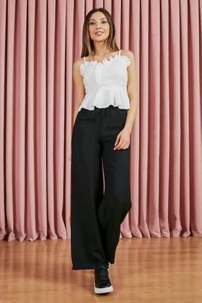 Sateen Kadın Siyah Beli Lastikli Bol Paça Pantolon 1