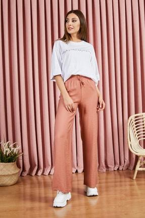 Sateen Kadın Kiremit Beli Lastikli Bol Paça Pantolon 1