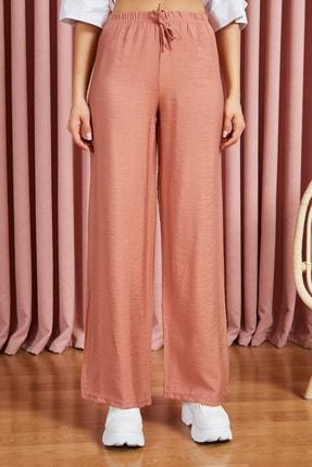 Sateen Kadın Kiremit Beli Lastikli Bol Paça Pantolon 2