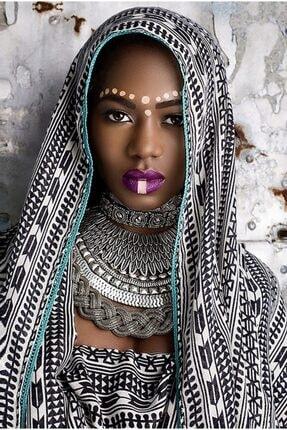 GENC DIJITAL BASKI Eşarplı Afrikalı Kadın Kanvas Tablo 50x70 1