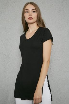 Sateen Kadın Siyah V Yaka Yırtmaçlı Uzun Tshirt 0