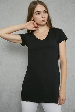 Sateen Kadın Siyah V Yaka Yırtmaçlı Uzun Tshirt 2