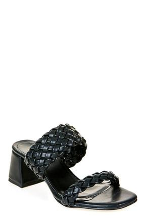 Sateen Kadın Siyah Örgü Bantlı Topuklu Terlik 3