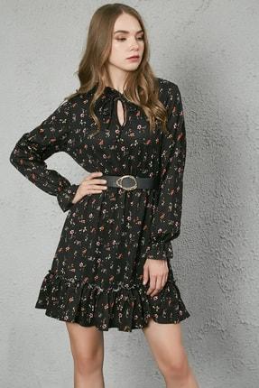 Sateen Kadın Siyah Yaka Bağcıklı Uzun Kol Elbise 0