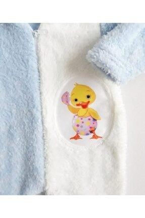 DODİPETTO Erkek Bebek Mavi Peluş Kapüşonlu  Tulum 1