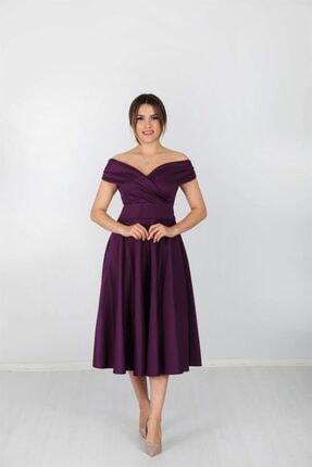 giyimmasalı Kayık Yaka Midi Elbise - Patlıcan Mor 1