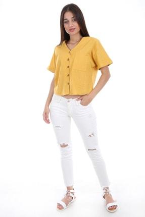 Bigdart Kadın Sarı Tek Cep Düğmeli Kısa Kol Bluz 0358 1