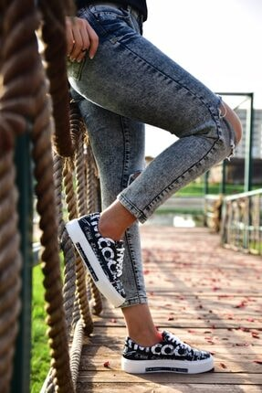 MİNAMİRA Kadın Siyah Baskılı Spor Cool Sneaker 0