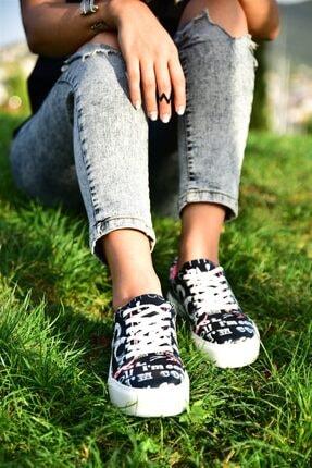 MİNAMİRA Kadın Siyah Baskılı Spor Cool Sneaker 1