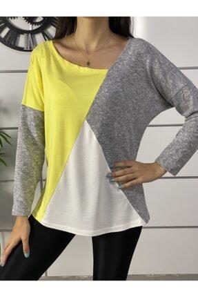 ELBİSENN Kadın Sarı Yeni Model Asimetrik Yaka Bloklu Bluz 0