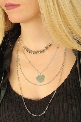 Adelita Silver Renk Çoklu Bayan Metal Zincirli Kolye 0