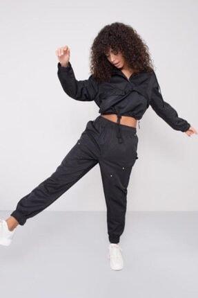 BSL Kadın Siyah Bel Paça Lastik Detaylı Pantolon 0