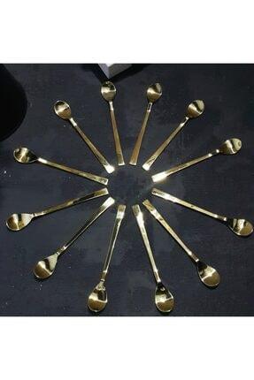 MADAM İZMİR Altın Rengi 12 Parça Paslanmaz Çelik Çay Kaşığı 0