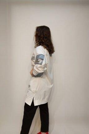 SOUL BY LOREEN FASHİON Kadın Beyaz Cepli Fermuarlı Trend Tarz Sweat Tunik 2