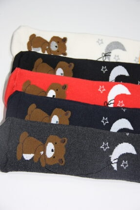 Baby Stromper Çocuk 5li Havlu Tabanaltı Abs Baskılı Ayı Desenli Çorap 1