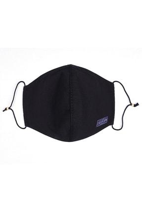 Cosplay Unisex Siyah Yıkanabilir Bez Pamuklu 2 Katlı Filtreli Telli Kumaş Maske 0