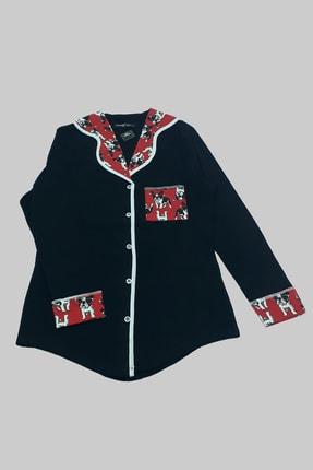 MELEK İÇ GİYİM Kadın Siyah Şal Yaka Köpek Desenli Pijama Takımı 1