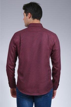 Uztex Erkek Vişne  Balıksırtı Düz Melanjuzun Kol Klasik Fit Gömlek 2