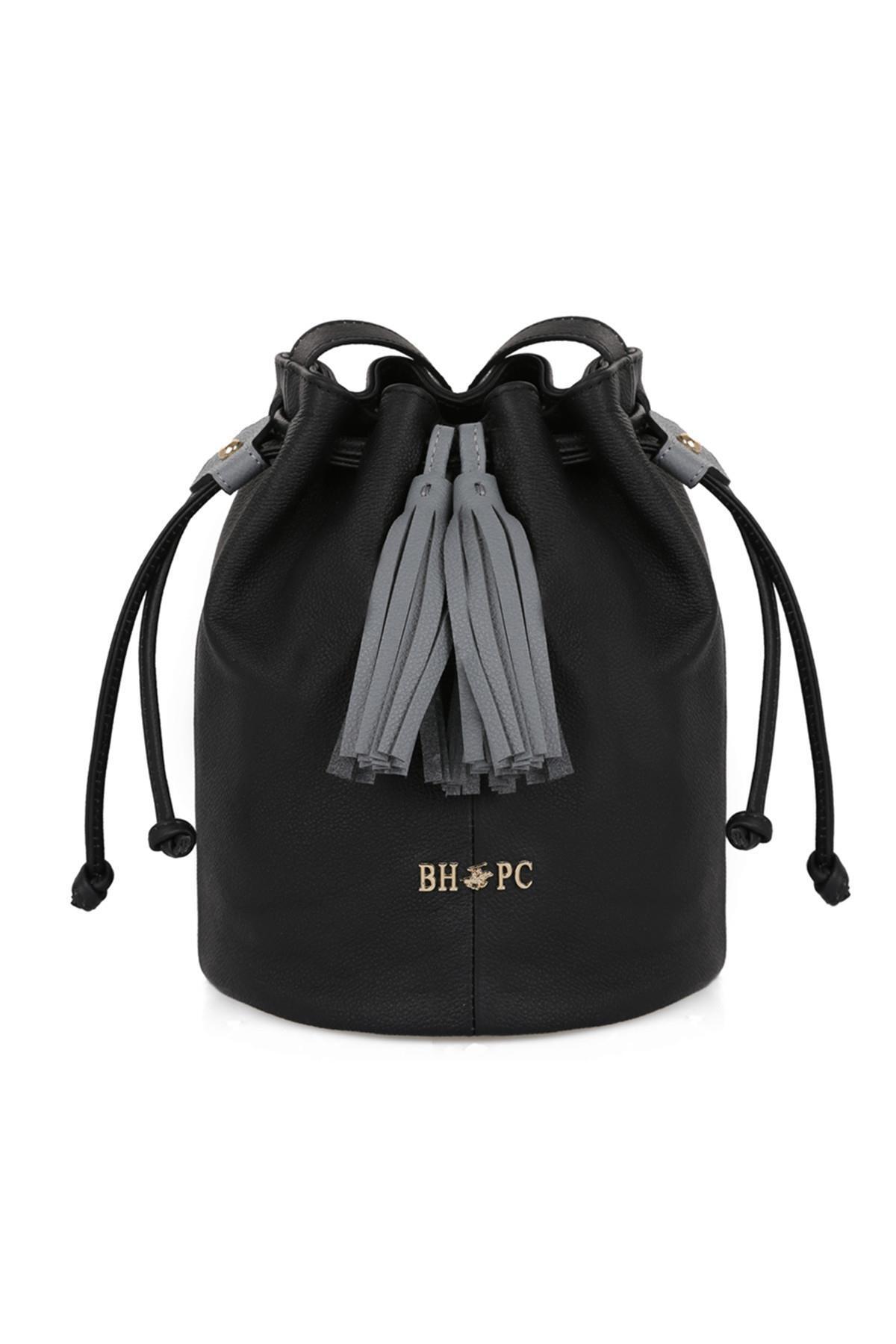 Beverly Hills Polo Club Kadın Hakiki Deri Püskül Detaylı Büzgülü Omuz Çantası Siyah 1