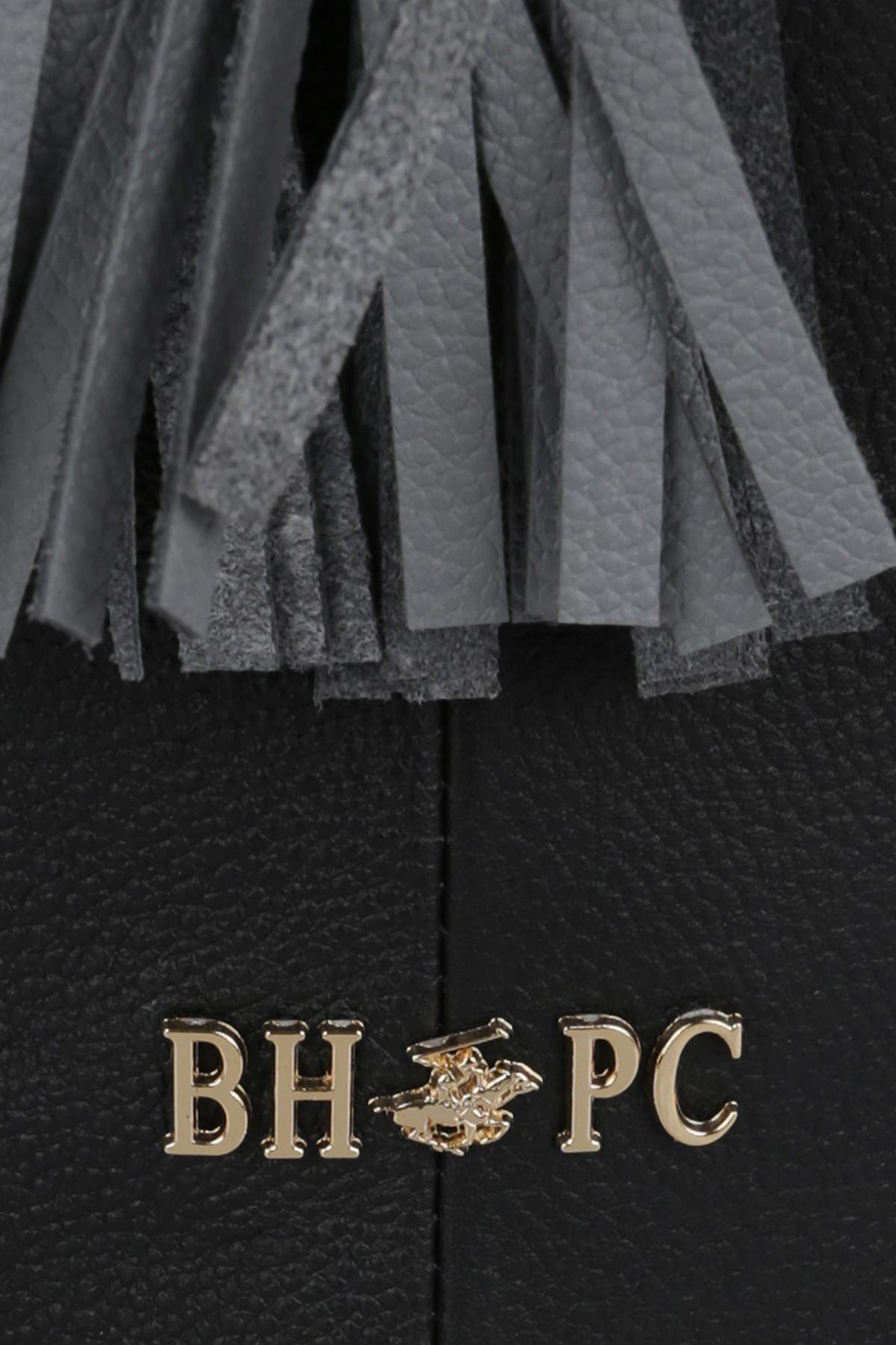 Beverly Hills Polo Club Kadın Hakiki Deri Püskül Detaylı Büzgülü Omuz Çantası Siyah 4