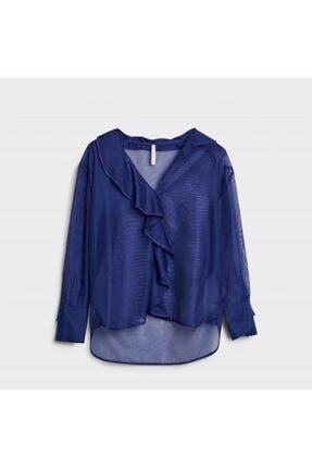 Yargıcı Kadın Mor Yaka Detaylı Bluz 0