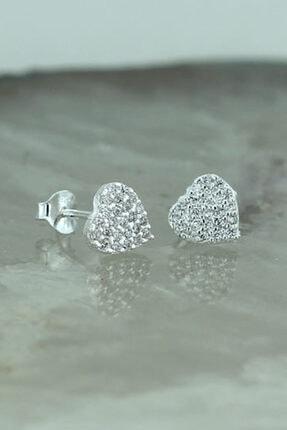Tmec Silver 925 Ayar Gümüş Beyaz Taşlı Kalp Küpe 0
