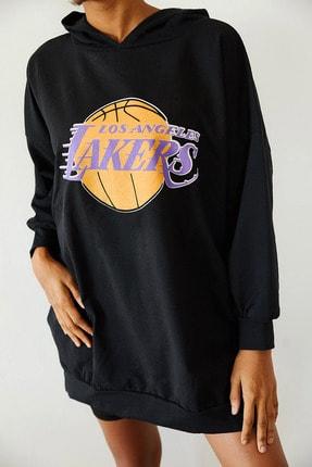Xena Kadın Siyah Baskılı Kapüşonlu Uzun Oversize Sweatshirt 1KZK8-10739-02 2