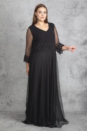 Şans Kadın Siyah Dantel Ve Tül Deyatlı Astarlı Simli Abiye Elbise 65N19350 2