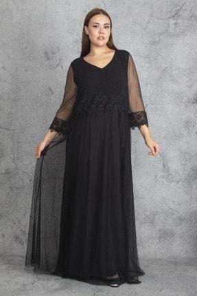 Şans Kadın Siyah Dantel Ve Tül Deyatlı Astarlı Simli Abiye Elbise 65N19350 4