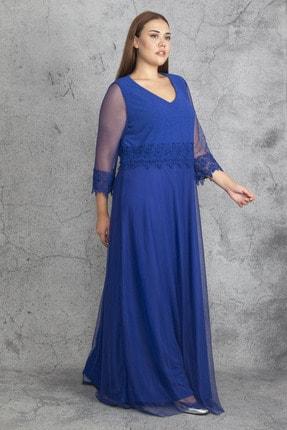 Şans Kadın Saks Dantel Ve Tül Deyatlı Astarlı Simli Abiye Elbise 65N19350 1