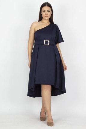 Şans Kadın Lacivert Tek Omuzlu Elbise 65N18975 1