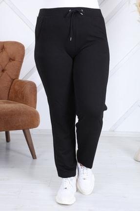 Heves Giyim Kadın Siyah Büyük Beden Şeritli Eşofman Altı 3