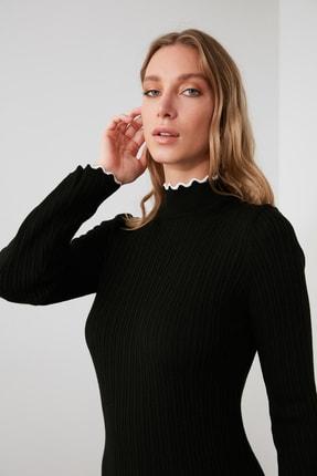 TRENDYOLMİLLA Siyah Fitilli Kol ve Yaka Detaylı Triko Elbise TWOAW21EL2205 2