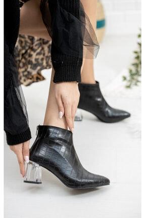 Moda Değirmeni Siyah Kroko Cilt Kadın Şeffaf Topuk Bot Md1050-116-0001 1
